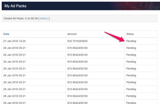 Status AdPacków z Paypal pending